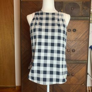 Banana Republic White Black Plaid Halter Top